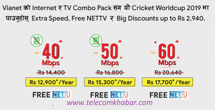vianet internet package with price and net tv